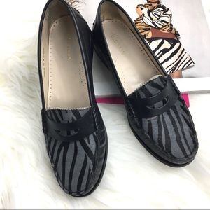 Cole Haan Zebra Calf Hair Leather Flat Loafers